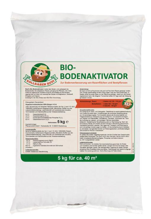 Rollrasen Rudi Bio Bodenaktivator organisch Etikett